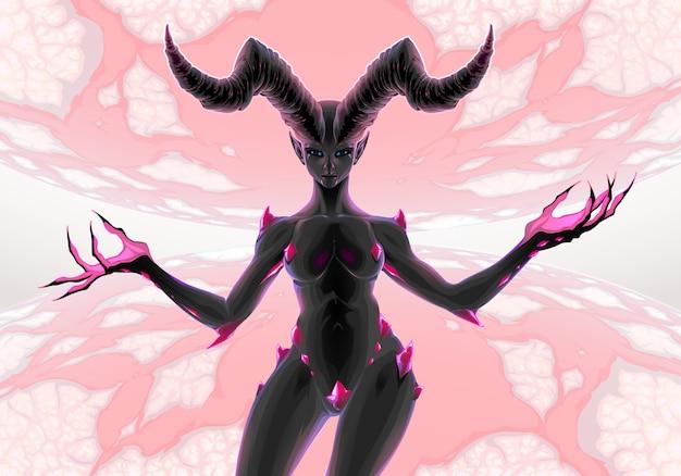 Vrouwelijke duivel tussen twee planeten, venus en pluto
