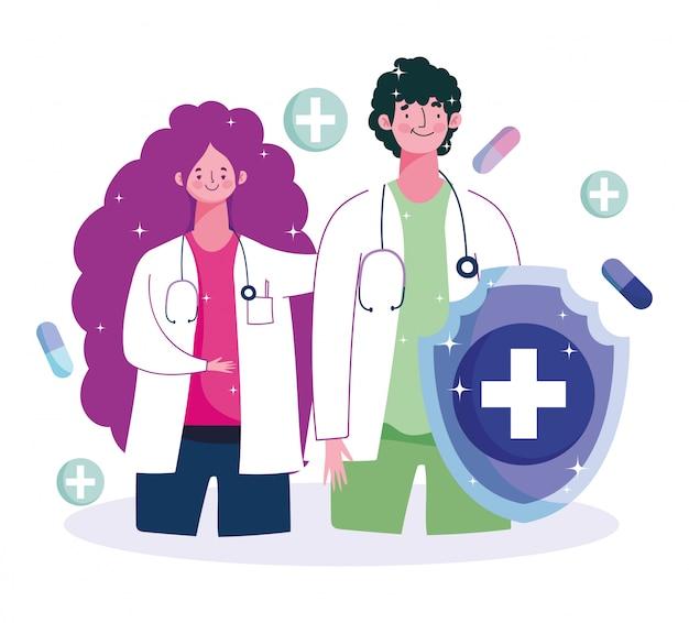 Vrouwelijke en mannelijke arts bescherming medische zorg vaccinatie illustratie