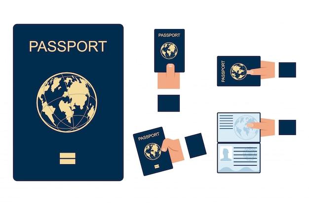Vrouwelijke en mannelijke handen houden open en gesloten paspoorten vector set geïsoleerd op een witte achtergrond.