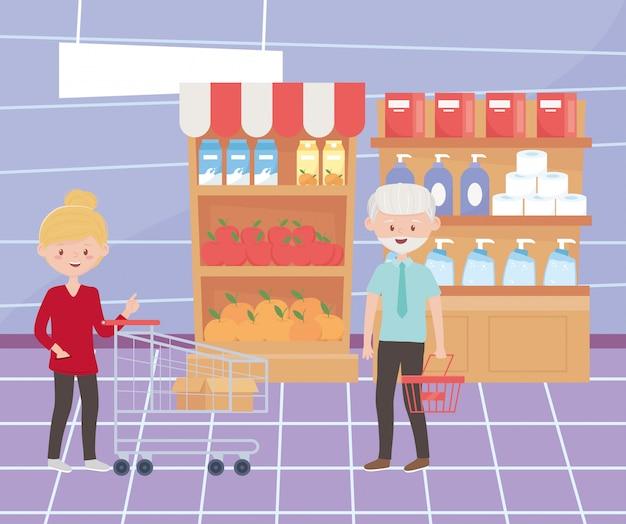 Vrouwelijke en mannelijke klant in de supermarkt met mand en winkelwagen overtollige aankoop
