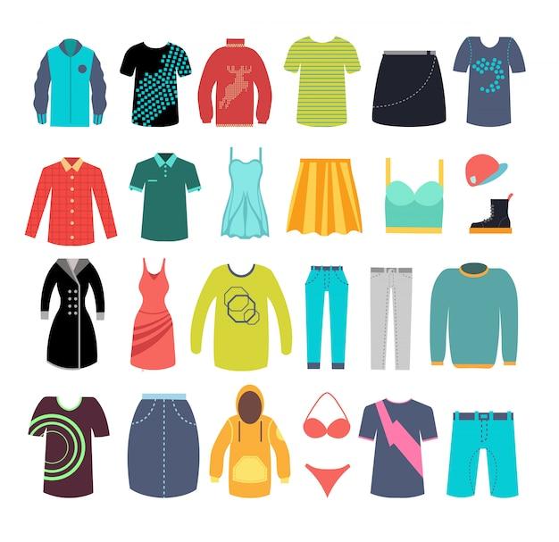 Vrouwelijke en mannelijke kleding en accessoires. vector kleding mode-collectie