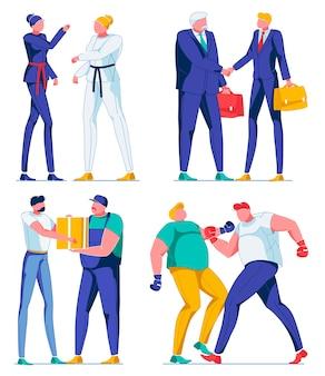 Vrouwelijke en mannelijke stripfiguren, sportarbeiders.