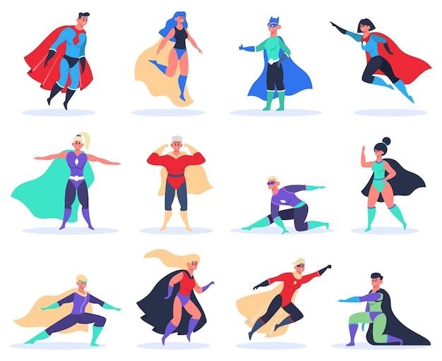 Vrouwelijke en mannelijke superhelden geïsoleerd op wit