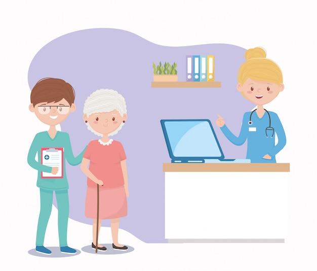 Vrouwelijke en mannelijke verpleegkundigen en oma-assistentie, artsen en ouderen