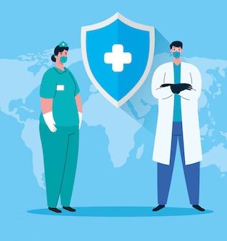 Vrouwelijke en mannelijke verpleegster en arts met uniformen en maskers van coronavirus werknemers thema illustratie