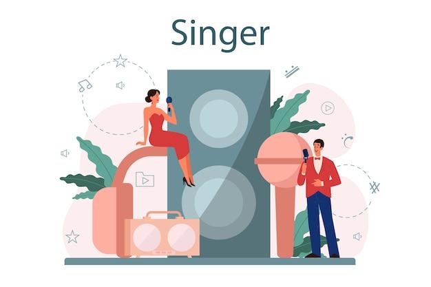 Vrouwelijke en mannelijke zanger concept