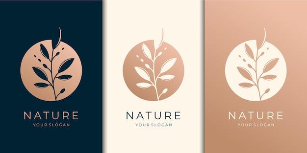 Vrouwelijke en natuur logo-set