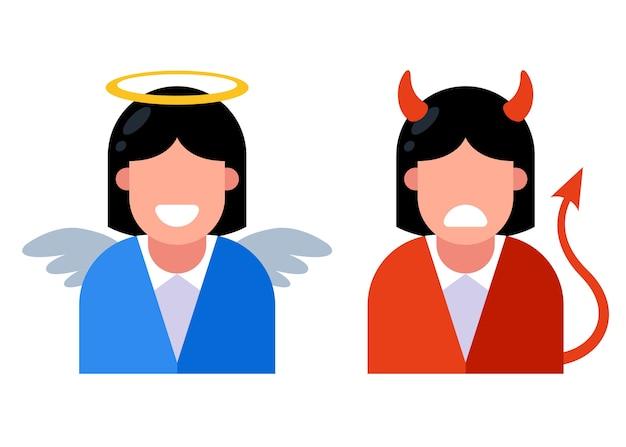 Vrouwelijke engel en duivel
