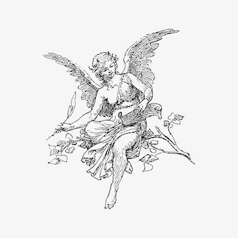 Vrouwelijke engel vintage tekening