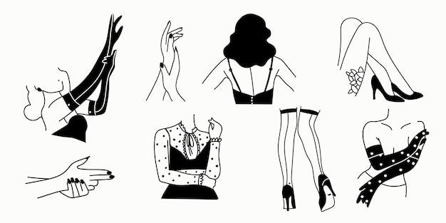 Vrouwelijke erotische silhouetten op een wit
