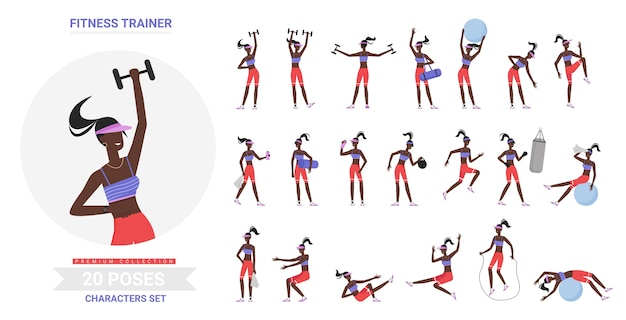 Vrouwelijke fitnesstrainer gym training vormt gymnastiek sport oefeningen