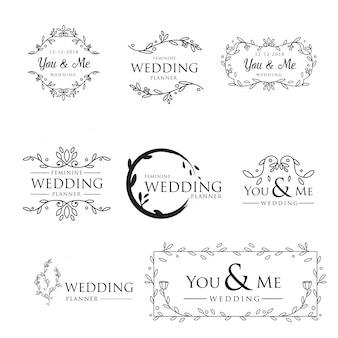 Vrouwelijke floral bruiloft logo-collectie