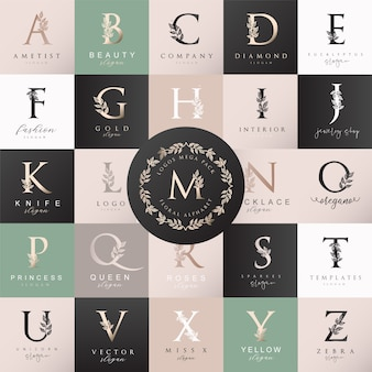 Vrouwelijke floral letter logo maker
