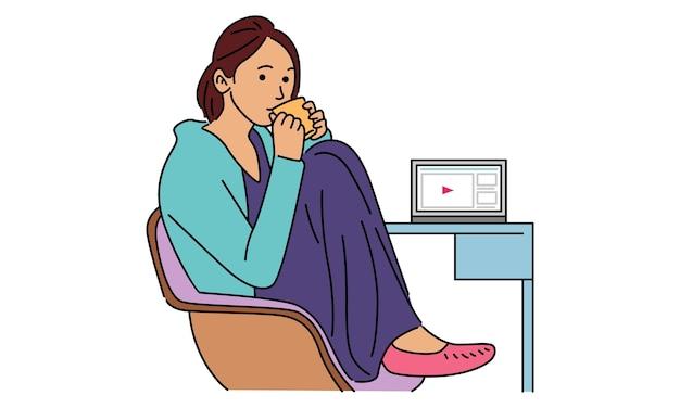 Vrouwelijke freelancer werkt op afstand vanuit haar kamer