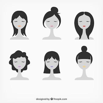 Vrouwelijke gezichten illustratie