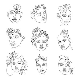 Vrouwelijke gezichtslijn met bloemen. doorlopende lijnenkunst met minimalistische portretten van vrouwen met een boeket in haren. mode schoonheid logo vector set. elegante kunst voor contourtattoo en reclame