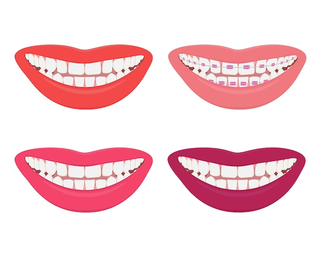 Vrouwelijke glimlach met verschillende lippenkleur