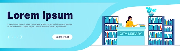 Vrouwelijke glimlachende bibliothecaris die zich bij balie bevindt. boek, plank, papier platte vectorillustratie