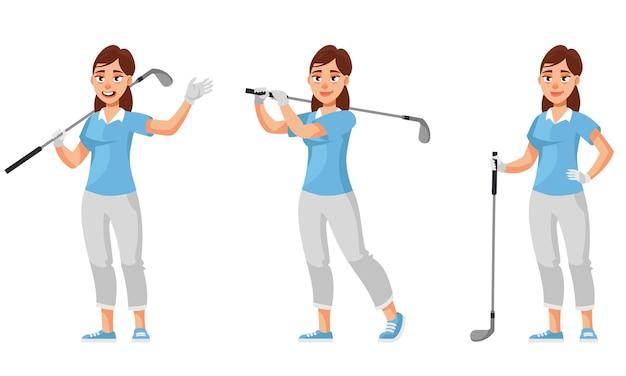 Vrouwelijke golfer in verschillende poses. sportvrouw in cartoon-stijl.