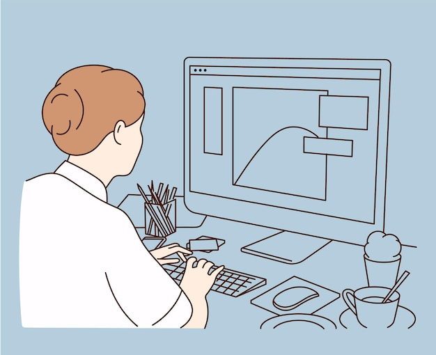Vrouwelijke grafisch ontwerper, illustrator of freelance werknemer zit aan een bureau en werkt thuis op de computer