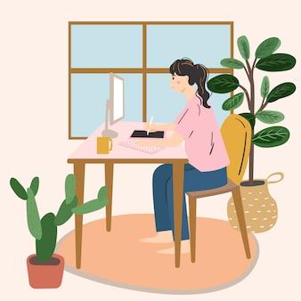 Vrouwelijke grafisch ontwerper werkt met interactieve pendisplay, digitale tekentablet en pen op een computer in werkstation.