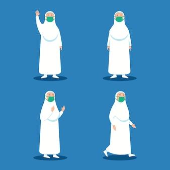 Vrouwelijke hajj-bedevaartkarakter die gezichtsmasker dragen tijdens pandemie