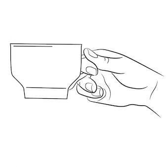 Vrouwelijke hand die een koffiemok zwart-wit vectorillustraties houdt