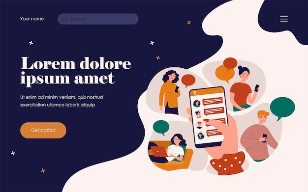 Vrouwelijke hand met smartphone en het delen van nieuws platte vectorillustratie. stripfiguur met behulp van mobiele telefoons en laptop online chatten. digitale technologie en informatie concept