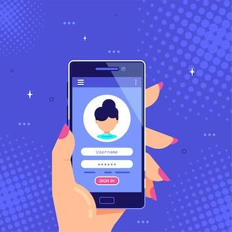 Vrouwelijke hand met smartphone met login en wachtwoord formulierpagina op scherm
