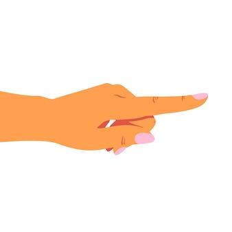 Vrouwelijke hand wijst naar rechts met haar wijsvinger naar iets.