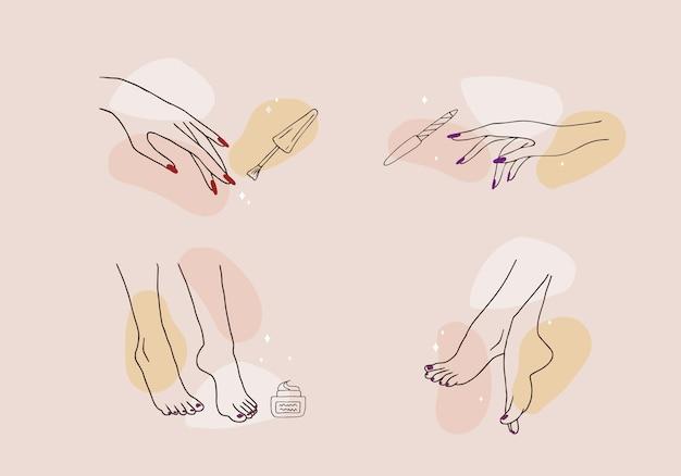 Vrouwelijke handen en voeten. manicure en pedicure concept.
