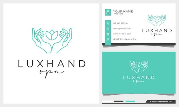 Vrouwelijke handen gebaar lijn en roze bloem logo ontwerpsjabloon. eenvoudige minimale lineaire stijl met sjabloon voor visitekaartjes