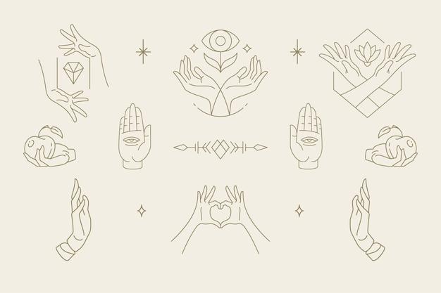 Vrouwelijke handen gebaren collectie van lijntekeningen