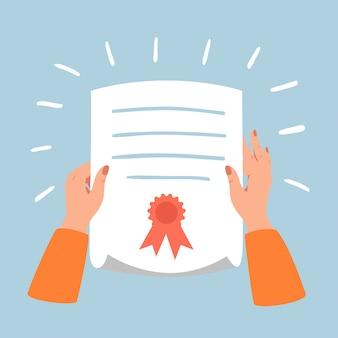 Vrouwelijke handen houden papieren diploma of certificaat met gekrulde hoek.