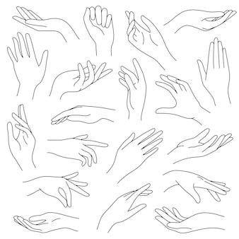 Vrouwelijke handen lijn. schets elegante vrouw handgebaren. mooie palm en vingers pictogrammen in één lijn mode minimalistische stijl, vector set. illustratie hand collectie vrouw, mooie elegante dame arm