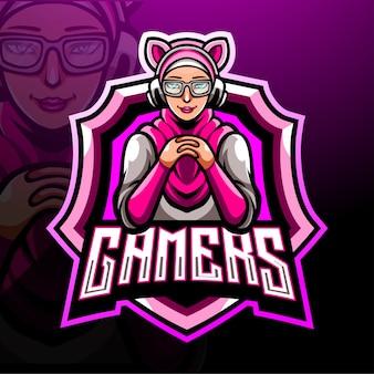 Vrouwelijke hijab gamer mascotte. esport logo ontwerp