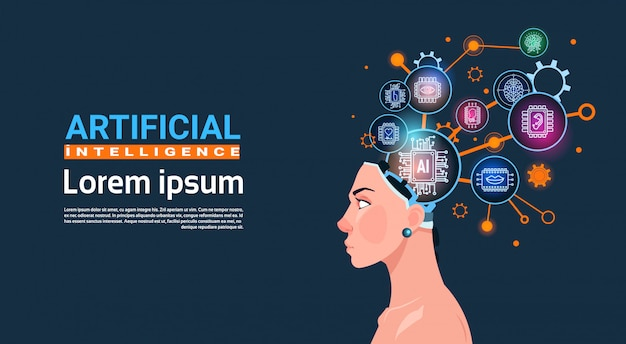 Vrouwelijke hoofd met cyber brain kogge wiel en gears concept van kunstmatige intelligentie banner met kopie ruimte