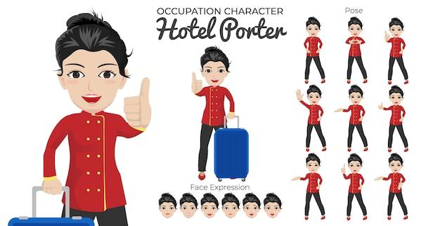 Vrouwelijke hotel porter-tekenset met een verscheidenheid aan houding en gezichtsuitdrukking