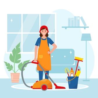 Vrouwelijke huishoudster wast de vloer in de cartoonillustratie van de woonkamer