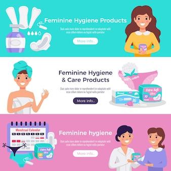 Vrouwelijke hygiëne- en verzorgingsproducten 3 platte horizontale websitebanners met tampons pads medisch advies
