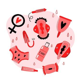 Vrouwelijke hygiëneproducten concept