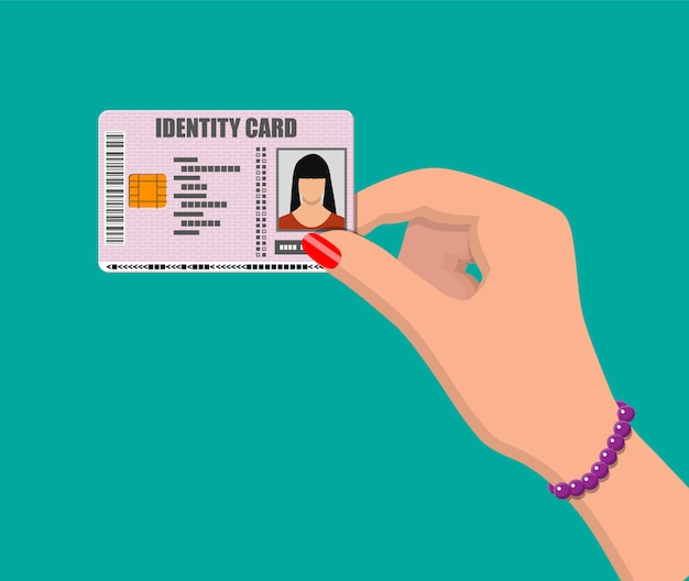Vrouwelijke identiteitskaart in de hand.