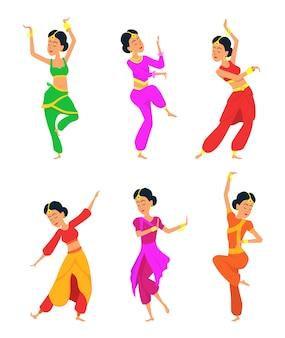 Vrouwelijke indiase dansers. stripfiguren