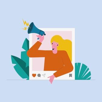 Vrouwelijke influencer in instagram-bericht