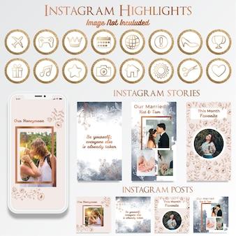 Vrouwelijke instagram social media post met logo-ontwerp