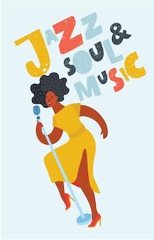 Vrouwelijke jazz-zangeres op het podium