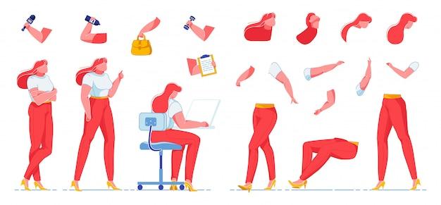 Vrouwelijke journalist creatie kit, werkende vrouw.