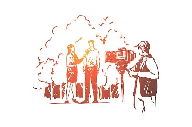 Vrouwelijke journalist die live uitzendt, vrouwelijke interviewer praat met man illustratie