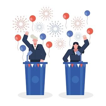 Vrouwelijke kandidaat debatteren in vector de illustratieontwerp van de verkiezingsdag