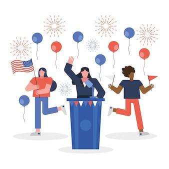 Vrouwelijke kandidaat geven toespraak verkiezing dag vector illustratie ontwerp
